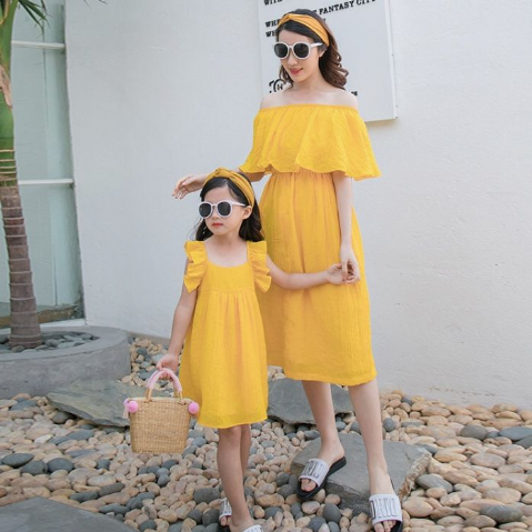 YELLOW RUFFLE DRESSES
